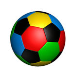 Olympic colored soccer ball. Soccer ball with colored with the same color as olympic rings Royalty Free Stock Photos
