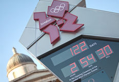 Olympic countdown clock. Closeup of one of the 2012 London olympic clocks in Trafalgar square with the national gallery in the background. Image taken on the Royalty Free Stock Photography