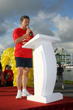 Olympic day run podium. With VIP making speech stock photos