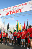 Olympic day run starting line Stock Photos