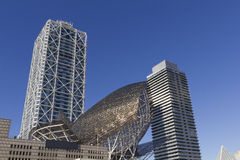 Olympic district in Barcelona, Spain. The two twin towers in theOlympic area of Barcelona, Spain, housing offices and a luxury hotel Stock Image