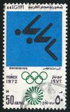 Olympic emblem. EGYPT - CIRCA 1972: stamp printed by Egypt, shows Swimming, Olympic emblem, circa 1972 Royalty Free Stock Images