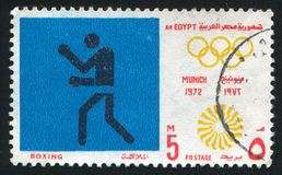 Olympic emblem. EGYPT - CIRCA 1972: stamp printed by Egypt, shows Boxing, Olympic emblem, circa 1972 Royalty Free Stock Images