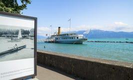 Olympic exhibition on the shore of Geneva Lake Royalty Free Stock Photo