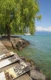 Olympic exhibition on the shore of Geneva Lake Royalty Free Stock Photos