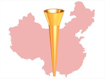 Olympic fire. The image of olympic fire on a background of a map of China Stock Photo