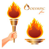 Olympic fire. Symbol of Olympic games. Torch and bowl Royalty Free Stock Image