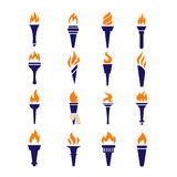 Olympic fire torch victory championship flame flat vector icons set Royalty Free Stock Photos