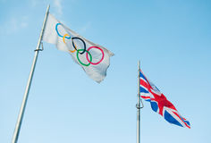 Olympic flag. Olympic and British flags. Photo taken on 23rd May 2012 Stock Images