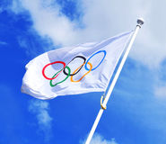 Olympic flag. London, UK - August 03, 2012: The Olympic flag waves over the British capital, which hosts the 30th Edition of the Olympic Games Stock Images