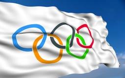 Olympic Flag. Waving on wind
