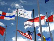 Olympic flag. And other countries against blue sky - next in 2012 in London Royalty Free Stock Photo