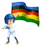 Olympic flag and baseball player Royalty Free Stock Image