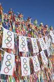 Olympic Flag Bunting Hanging in front of Brazilian Wish Ribbons Royalty Free Stock Photo