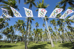 Olympic Flag Bunting Palm Trees Royalty Free Stock Photo