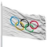 Olympic Flag on Flagpole Stock Image