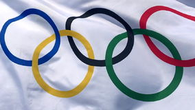 Olympic Flag Fluttering Slow Motion stock footage