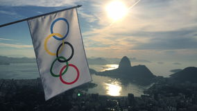 Olympic Flag Hanging at Rio de Janeiro Skyline Overlook stock video footage
