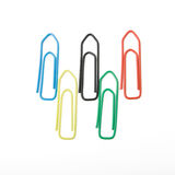 Olympic flag made of paperclips isolated on white stock photos