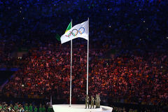 Olympic Flag in the Maracana Olympic stadium during the opening ceremony of Rio 2016 Summer Olympic Games in Rio de Janeiro Royalty Free Stock Photography