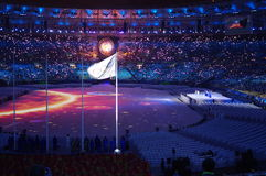 Olympic flag and Olympic cauldron. During Rio2016 Olympic closing ceremonies in Rio de Janeiro, Brazil. Photo taken on Aug21, 2016 Royalty Free Stock Photos