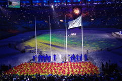 Olympic flag at Rio2016 closing ceremonies. Olympic flag and Olympic cauldron during Rio2016 Olympic closing ceremonies in Rio de Janeiro, Brazil. Photo taken on Stock Images