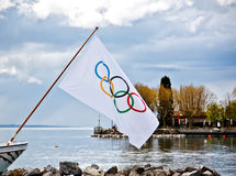 Olympic flag at Olympic museum. On an old cruise ship in Lake Geneva in April 20, 2012. The symbol of the Olympic Games was originally designed in 1912 by Baron stock photography