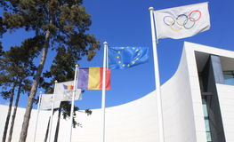 Olympic flag. With rings symbol on Romanian Olympic Committee and sports Museum in Bucharest city,Romania stock photos