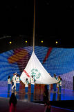 Olympic flag rising Stock Photo