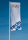 Olympic flag. SOCHI, RUSSIA.  FEBRUARY 07, 2014 - Olympic Sochi 2014 flag against the background of blue sky Royalty Free Stock Photo