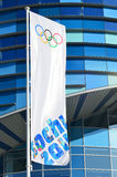 Olympic flag with the symbol of the Sochi 2014 Stock Images