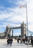 Olympic flag with Tower Bridge Royalty Free Stock Images