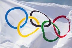 olympic flagga Royaltyfri Fotografi