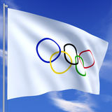 olympic flagga Royaltyfria Bilder