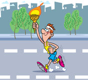Olympic flame. The athlete runs down the road. He is holding the Olympic torch Royalty Free Stock Photography