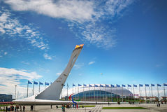 The Olympic Flame Burns Bright At Sochi 2014 Stock Photo