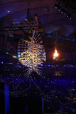 The Olympic flame burns in the Maracana Olympic stadium during the opening ceremony of Rio 2016 Summer Olympic Games Stock Photo