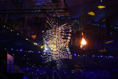 The Olympic flame burns in the Maracana Olympic stadium during the opening ceremony of Rio 2016 Summer Olympic Games Stock Image