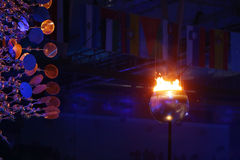 The Olympic flame burns in the Maracana Olympic stadium during the opening ceremony of Rio 2016 Summer Olympic Games Royalty Free Stock Image