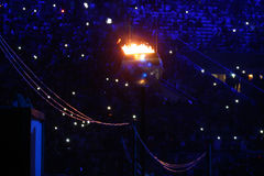 The Olympic flame burns in the Maracana Olympic stadium during the opening ceremony of Rio 2016 Summer Olympic Games Stock Photos