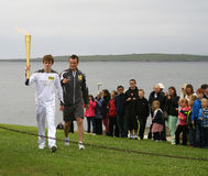 Olympic Flame lands at John O'Groats, Scotland Royalty Free Stock Images