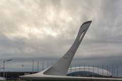 The Olympic flame Sochi. No fire winter Royalty Free Stock Photos