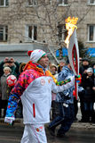 Olympic flame in Tomsk Royalty Free Stock Images
