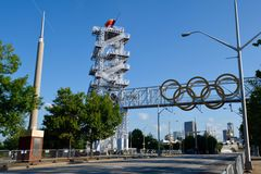 1996 Olympic Flame Tower. This is a Spring picture of the 1996 Olympic Flame Tower located in Atlanta, Georgia.  This picture was taken on May 30, 2015 Royalty Free Stock Images