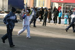 Olympic flame. Ufa city, respublika Bashkortostan, Russia, 20 december, 2013 year. Royalty Free Stock Photography