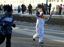 Olympic flame. Ufa city, respublika Bashkortostan, Russia, 20 december, 2013 year. Royalty Free Stock Photo
