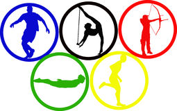 Olympic game circles. With sportsmans Stock Images