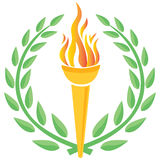 Olympic games. Illustration of Olympic games with torch and wreath Royalty Free Stock Photo