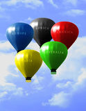 Olympic games balloons. In the blurred sky Royalty Free Stock Photo