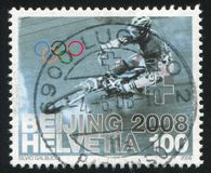 Olympic Games in Beijing. SWITZERLAND - CIRCA 2008: stamp printed by Switzerland, shows Olympic Games in Beijing, circa 2008 Stock Photography